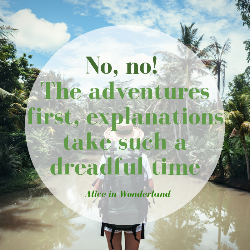 no, no! the adventures first, explanations take such a dreadful time - alice in wonderland
